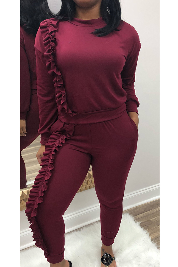 Casual Round Neck Ruffle Design Wine Red Blending Two-piece Pants Set<br>