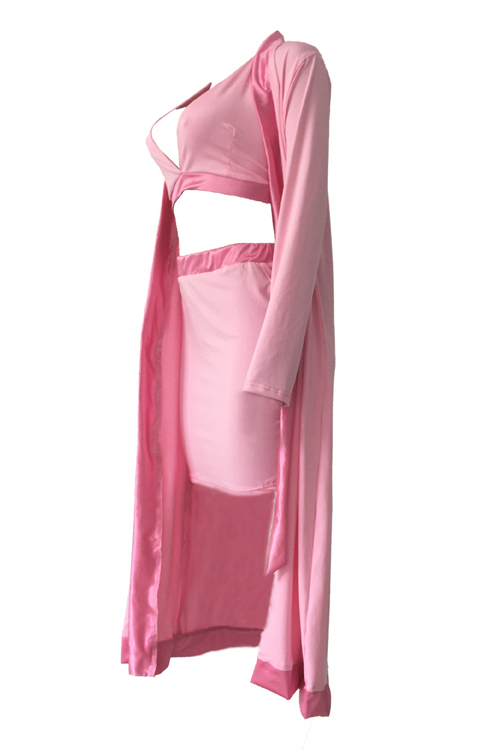 Sexy V cuello Patchwork Rosa Poliéster Tres-piece Conjunto de la falda