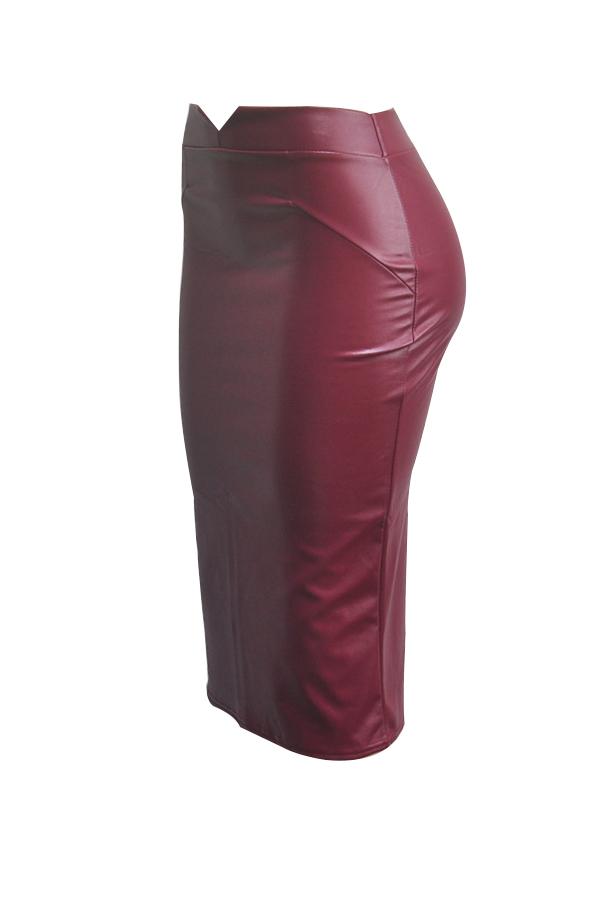 Trendy High Waist Purplish Red Leather Sheath Knee Length Skirts