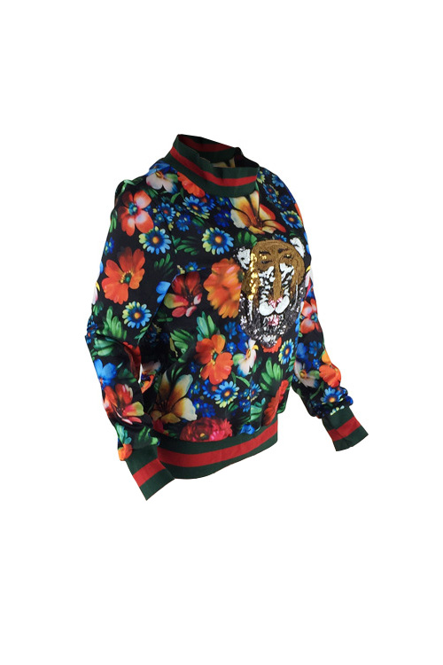 Leisure Round Neck Floral Printed Polyester Pullovers