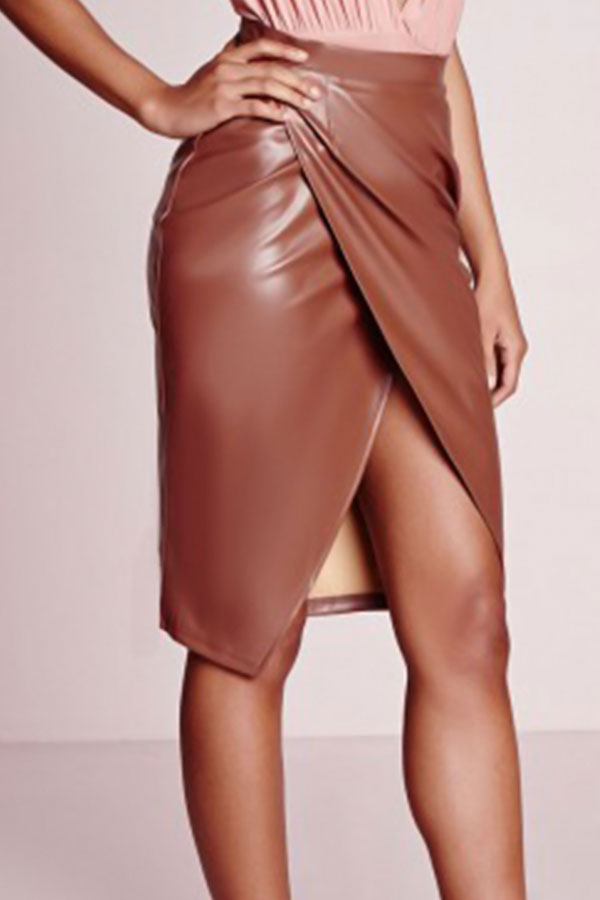 Trendy High Waist Front Split Coffee Leather Knee Length Skirts