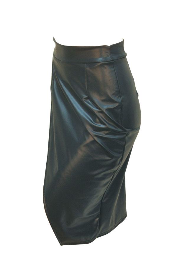 Trendy High Waist Front Split Black-green Leather Knee Length Skirts