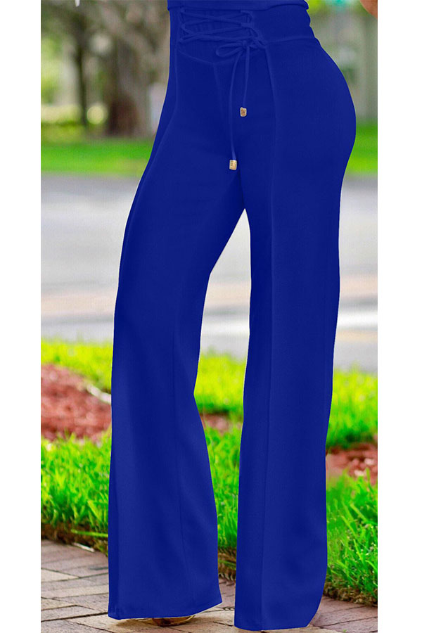 Pantalones De Poliéster Azul Con Cordones Y Cintura Alta