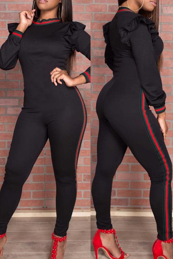 Trendy Round Neck Falbala Design Black Polyester One-piece Jumpsuits