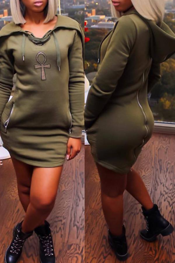 Leisure Long Sleeves Zipper Design Army Green Polyester Sheath Mini Dress Dresses <br><br>