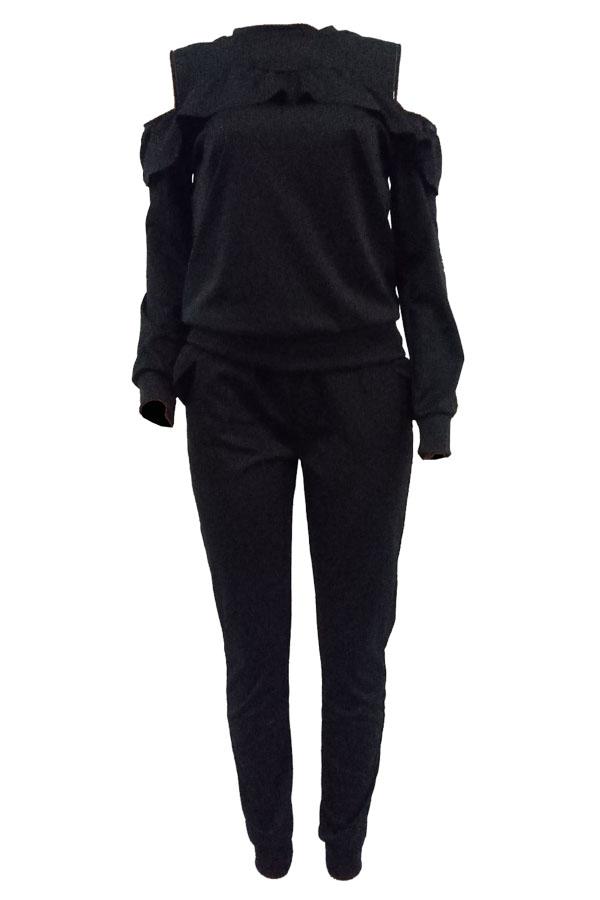 Diseño De Volantes De Hombro De Rocío De Cuello Redondo Informal Diseño De Pantalones De Dos Piezas De Mezcla De Color Negro