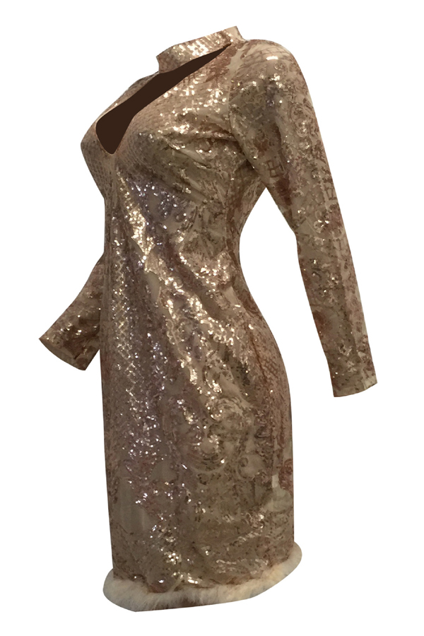 Lovely Sexy Deep V Neck See-Through Rose Gold  Sheath Knee Length Dress