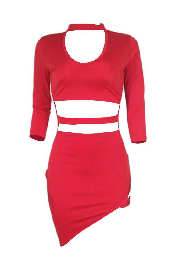 Sexy Turtleneck Hollow-out Red Polyester Mini Dress