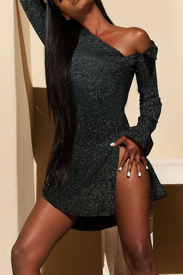 Vestido De Lentejuelas De Cuello Barco Sexy Mini Vestido De Poliéster Negro