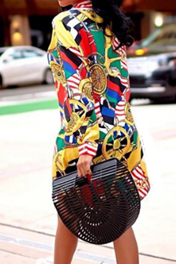 Vestito in tessuto stampato sottile dal colletto trendy (senza cintura)