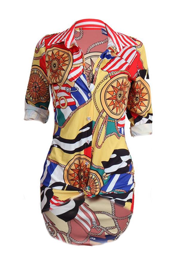 Trendy Turndown Collar Printed Healthy Fabric Mini Dress (Sem cinto)