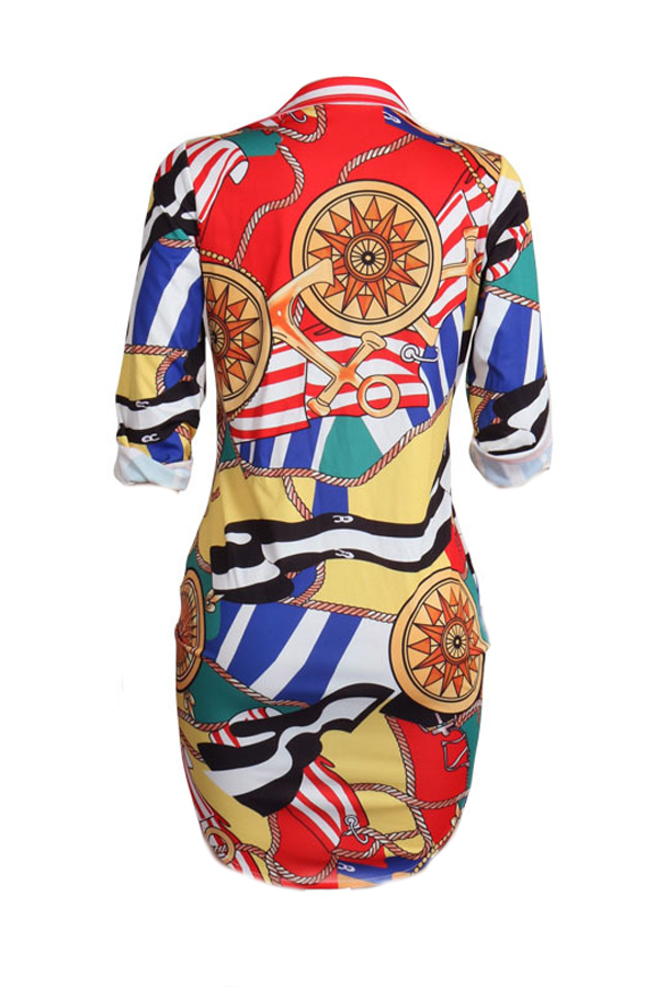 Trendy Turndown Collar Printed Healthy Fabric Mini Dress(Without Belt)