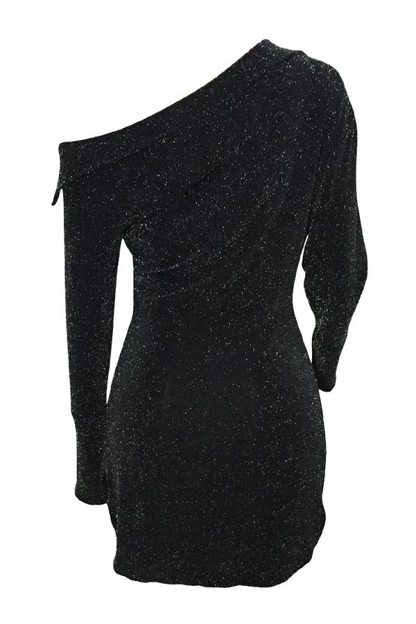 Sexy Bootausschnitt Pailletten Dekoration Schwarz Polyester Mantel Mini Dress