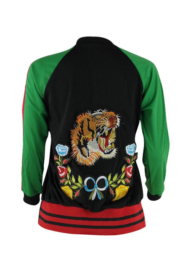 Euramerican Round Neck Embroidered Design Cotton Blends Jacket