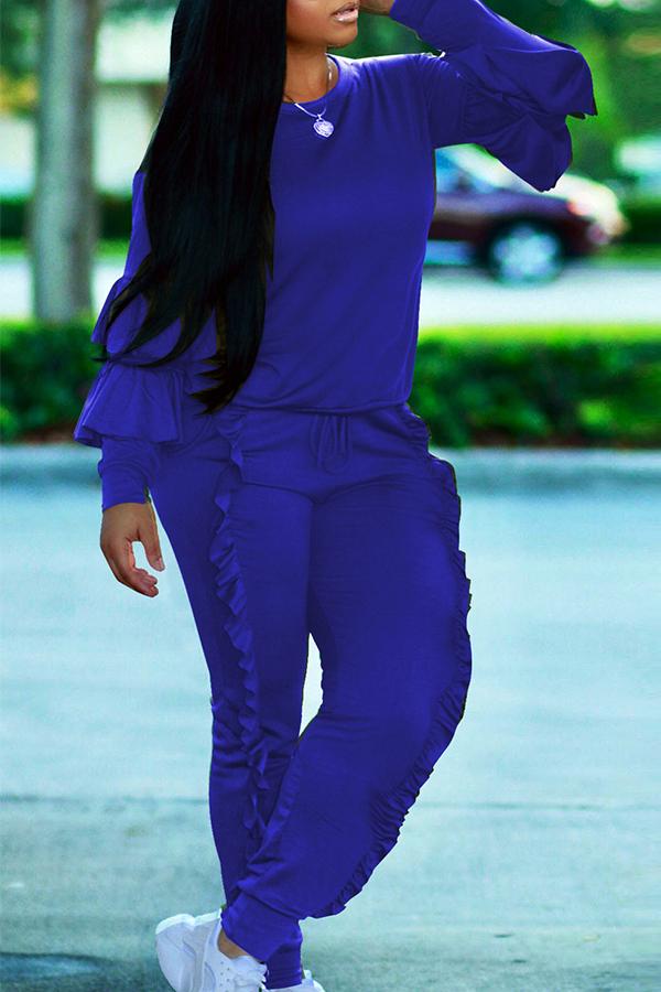 Модная Круглая Шея С Голубыми Накладками Из Двух Частей