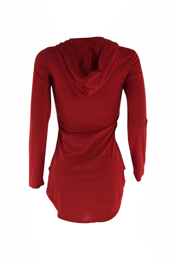 Sexy Hooded Collar Irregular Design Red Polyester Mini Dress