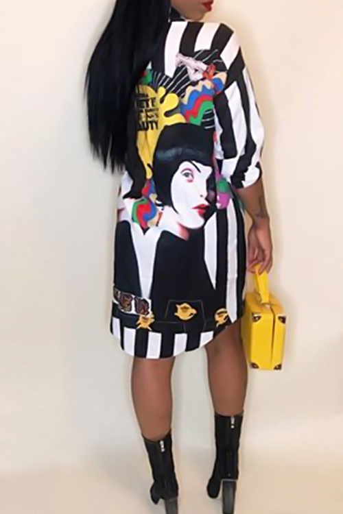 Casual Turndown Collar Characters Printed Black Polyester Knee Length Dress