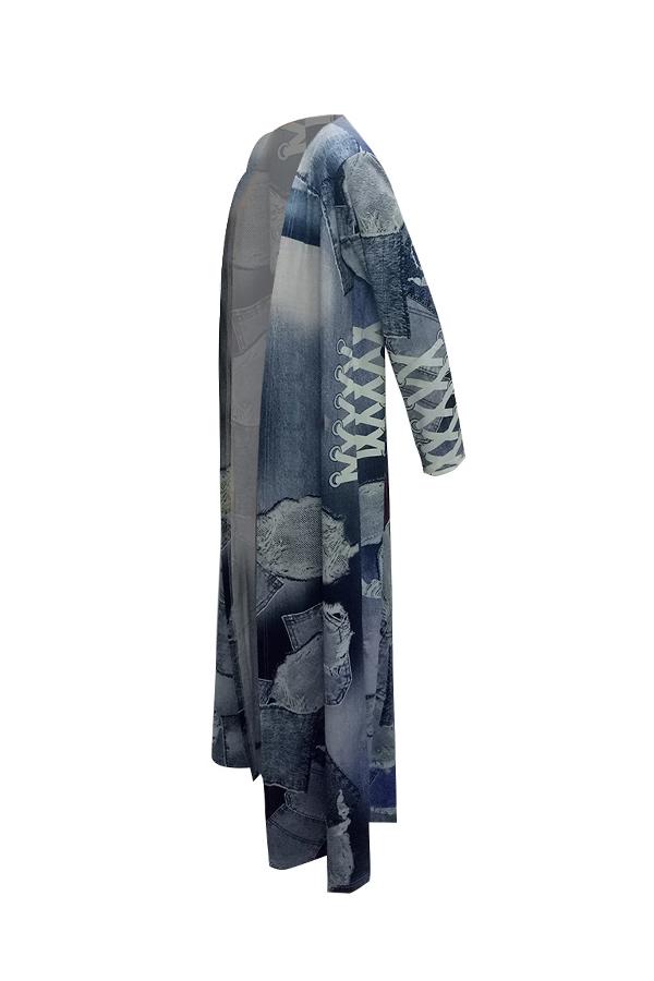 Fashionable V Neck Cartoon Characters Printed Polyester X Long Coat