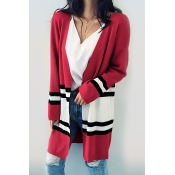 Euramerican Long Sleeves Patchwork Red Cotton Card