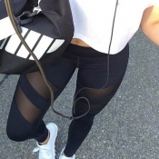 Trendy High Waist See-Through Black Polyester Legg