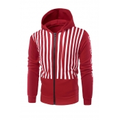 Fashionable Hooded Collar Striped Red Cotton Blend