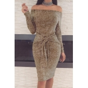 Casual Dew Shoulder Lace-up Khaki Polyester Sheath Knee Length Dress