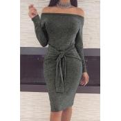 Casual Dew Shoulder Lace-up Dark Grey Polyester Sheath Knee Length Dress