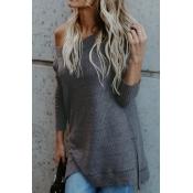 Lovely Fashionable Bateau Neck Dew Shoulder Grey P