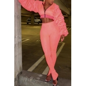 Euramerican Hooded Collar Puff Sleeves Pink Polyester Two-piece Pants Set