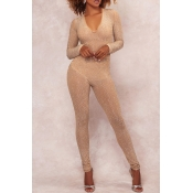 Euramerican V Neck Hot Drilling Decorative Khaki Polyester One-piece Jumpsuits