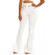 Euramerican High Waist Button Decorative White Pol