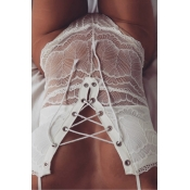 Sexy Lace-up See-Through White Lace One-piece Jump