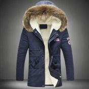 Stylish Hooded Collar Zipper Design Navy Blue Cott
