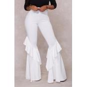 Lovelyeuramerican Alta Cintura Falbala Design Branco Qmilch Calças