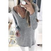 Euramerican V Neck Long Sleeves Grey Blending T-sh