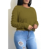 Fashionable Round Neck Hollow-out Green Spandex Ho