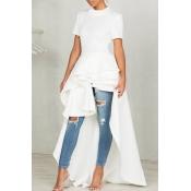 Elegante Mandarin Colar Assimétrico Falbala Design Branco Poliéster Meia Veste Vestido