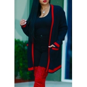 Euramerican Long Sleeves Striped Black Polyester L