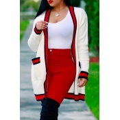 Euramerican Long Sleeves Striped White Polyester Long Cardigans