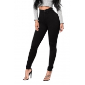 Casual High Waist Zipper Design Black Denim Jeans
