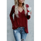 Lovely Trendy V Neck Button Decorative Wine Red Bl
