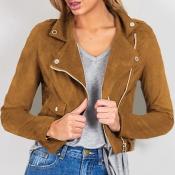 Euramerican Turndown Collar Zipper Design Brown Su