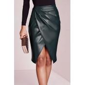 Trendy High Waist Front Split Black-green Leather