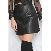 Fashion High Waist Black Leather Sheath Mini Skirt