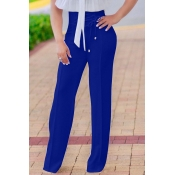 Мода Высокой Талией Кружева-up Синий Полиэстер Брюки