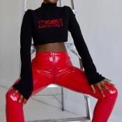 Euramerican High Waist Zipper Design Red Leather Pants
