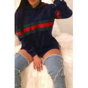 Causal Hooded Collar Long Sleeve Striped Patchwork