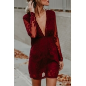 Lovely Sexy V Neck See-Through Red Lace Mini Dress