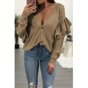 Sexy Deep V Neck Layered Ruffles Khaki Knitting Sw