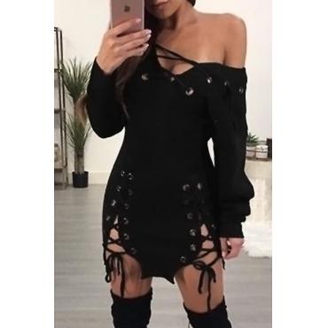 Sexy Vestido Com Gola De Gola, Vestido Preto E Preto, Mini Vestido